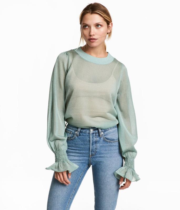 Трендовая прозрачная блуза с пышными рукавами свитшот оверсайз...