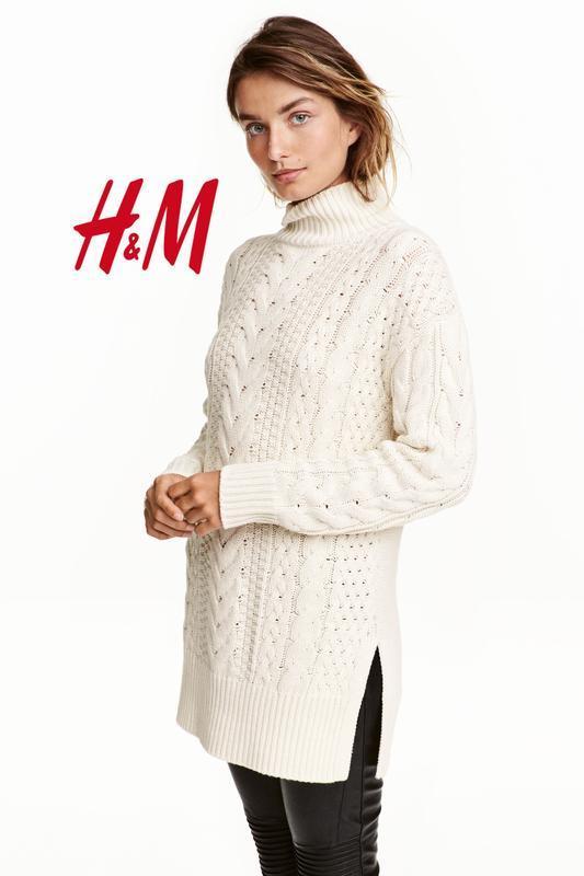 Длинный вязаный джемпер свитер с косами h&m