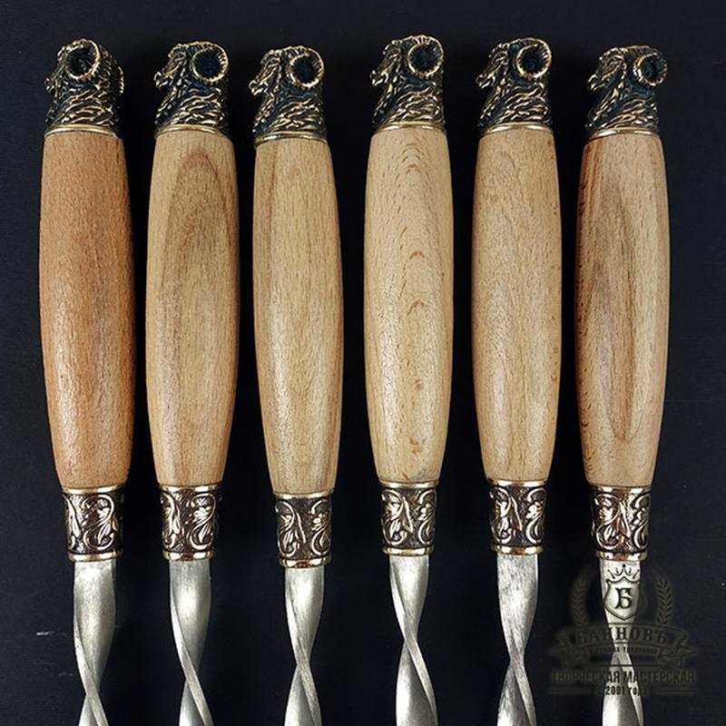"""Подарочный набор шампуров с деревянными ручками """"Золотое руно"""""""