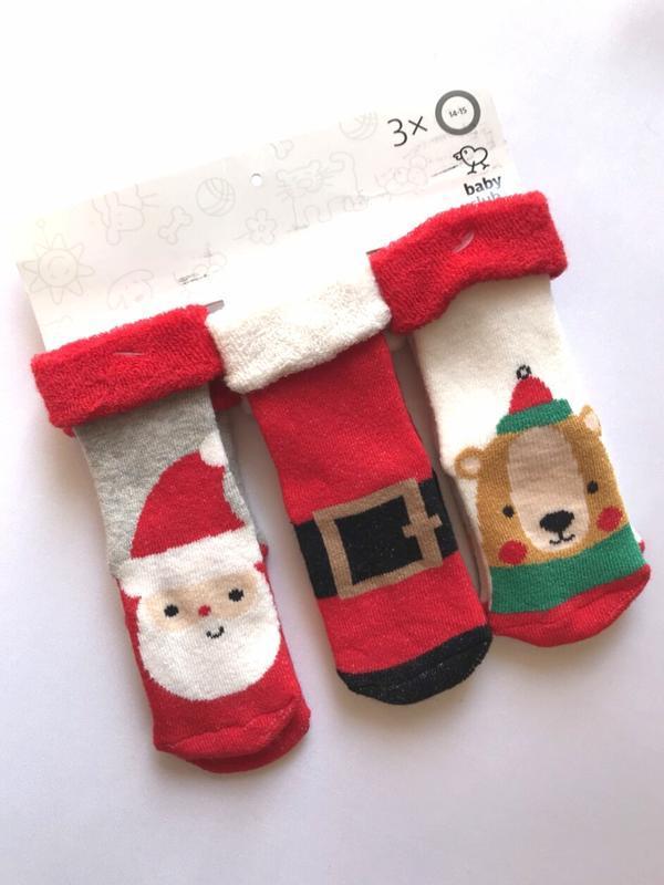 Комплект 3 пары. детские рождественские махровые носочки, baby...
