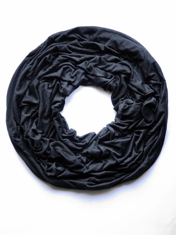 Трикотажный лёгкий шарф хомут, снуд , чёрного цвета, c&a