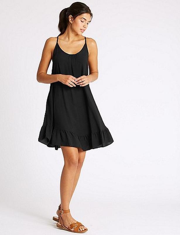 Акция!новое черное легкое натуральное платье сарафан для пляжа...