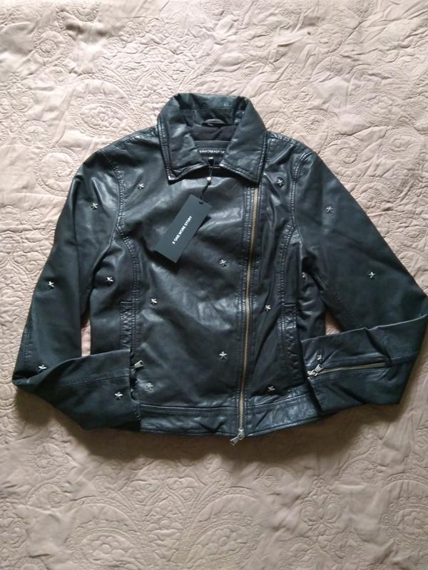 Новая куртка косуха из кожи со звёздами, eu34 (xxs-xs) one mor... - Фото 4