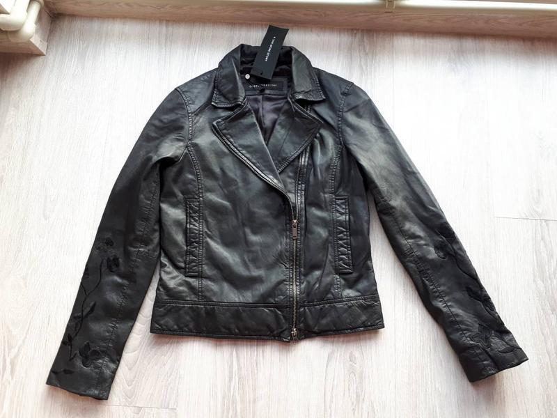 Тренд.100% кожа. куртка-косуха с вышивкой one more story, герм... - Фото 3