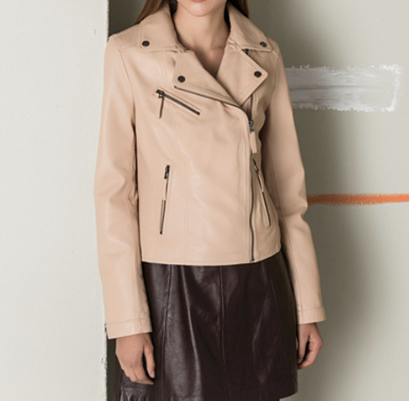 Новая куртка косуха из премиум кожи oakwood, франция. пудра/ню... - Фото 2