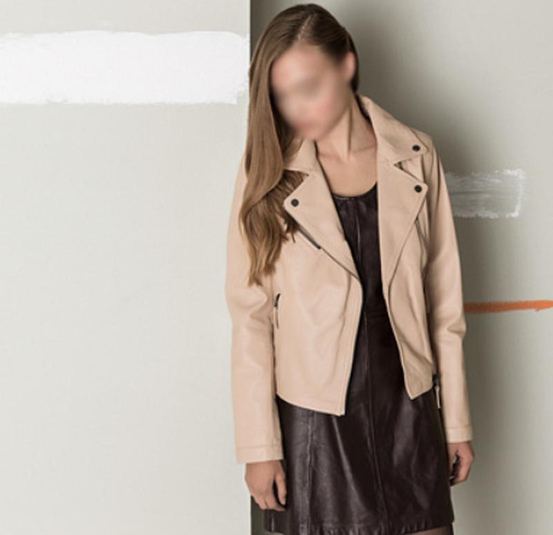Новая куртка косуха из премиум кожи oakwood, франция. пудра/ню...