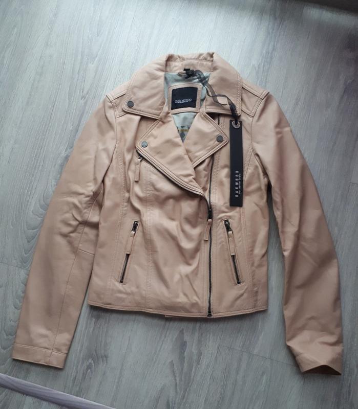 Новая куртка косуха из премиум кожи oakwood, франция. пудра/ню... - Фото 3