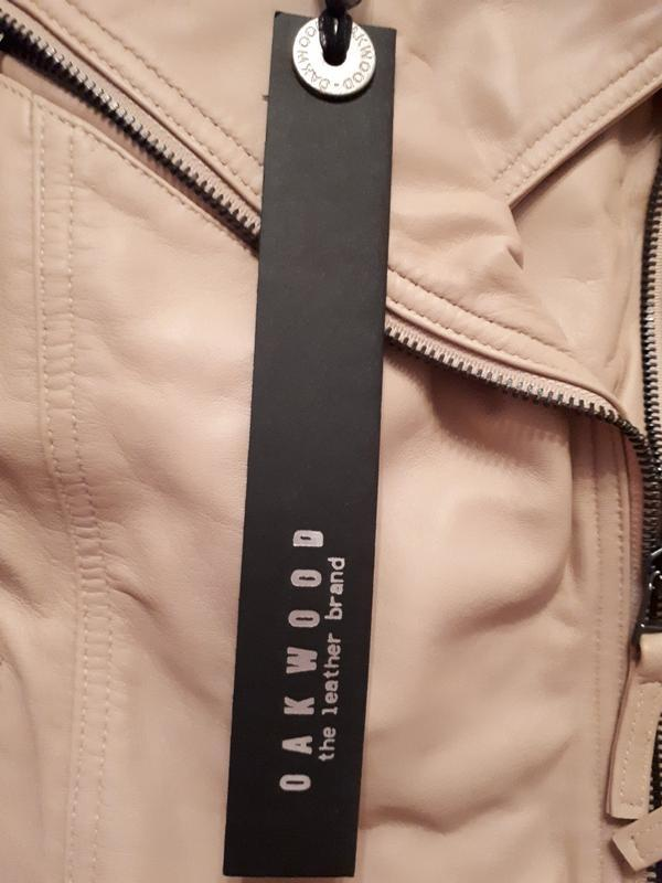 Новая куртка косуха из премиум кожи oakwood, франция. пудра/ню... - Фото 5