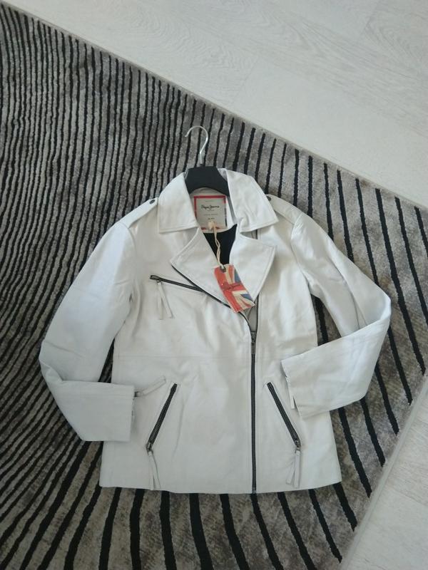 Новая кожаная куртка косуха pepe jeans london 100% кожа нюанс ... - Фото 4