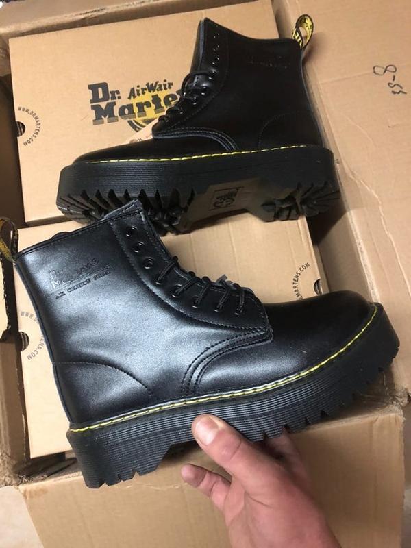 Dr.martens jadon fur black женские зимние ботинки мартинс чёрн...