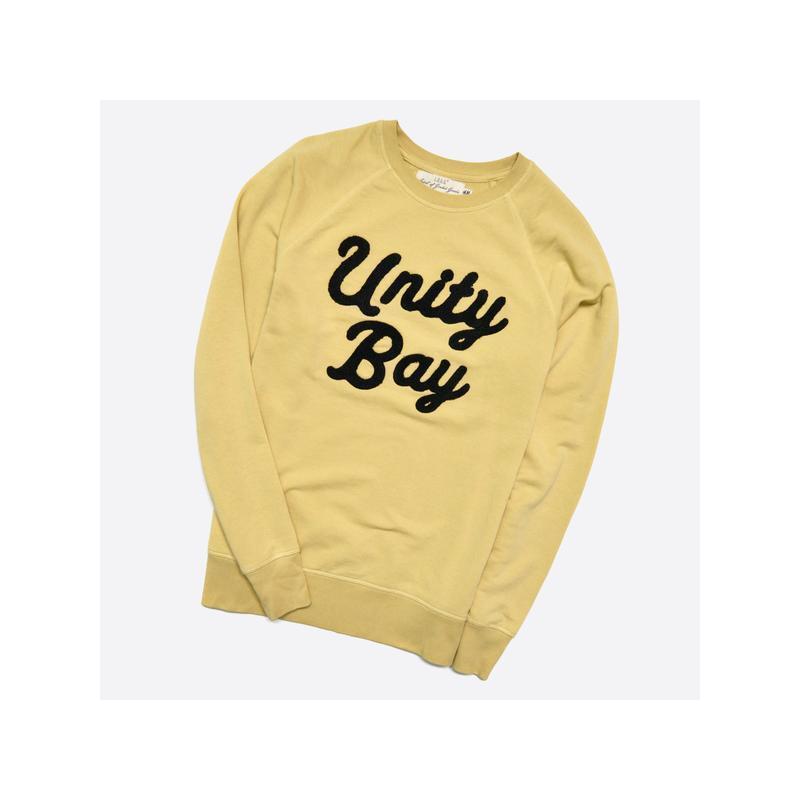 H&m m / мужской жёлтный свитшот с мягкой вышивкой на груди