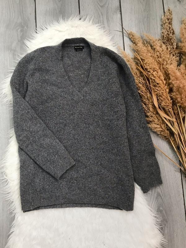 Massimo dutti свитер тёплый серый базовый s  в составе альпака...