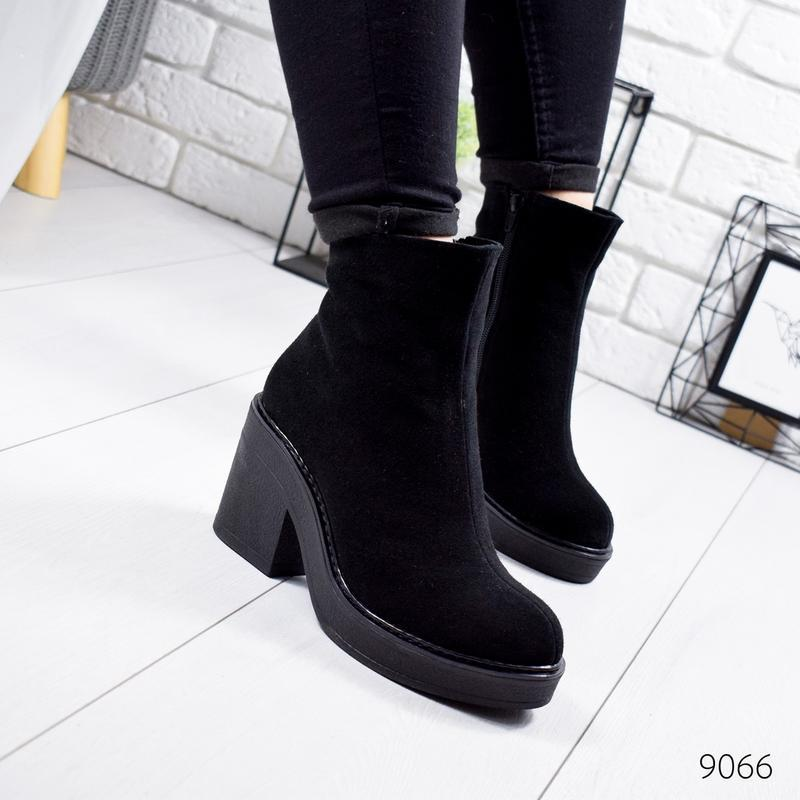 ❤ женские черные зимние замшевые ботинки сапоги полусапожки бо...