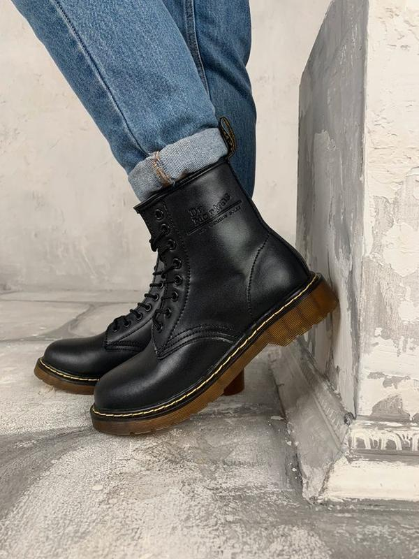 Dr. martens 1460 black fur женские зимние ботинки мартинс чёрн...