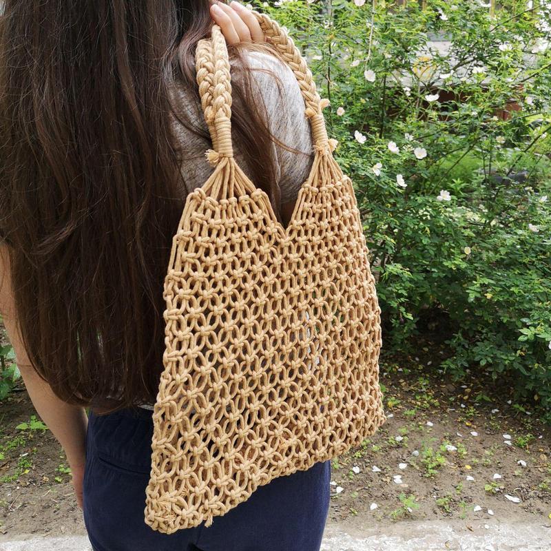 Авоська плетеная сумка летняя сумка пляжная сумка
