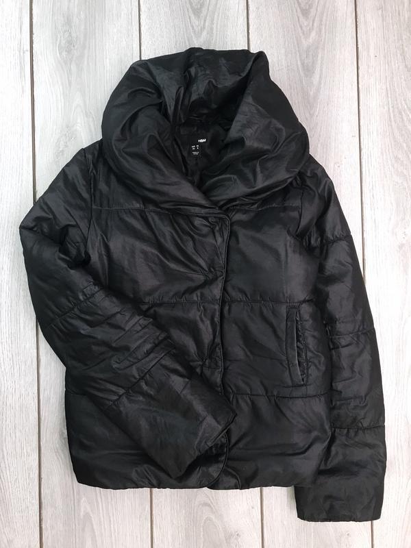 H&m куртка демисезонная чёрная зефирка s / m с объемной горлов...