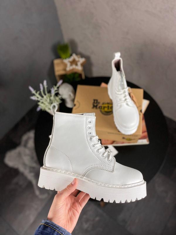 Dr. martens jadon mono white женские зимние ботинки мартинс бе...
