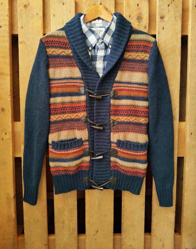 Тёмно-синий шерстяной свитер h&m