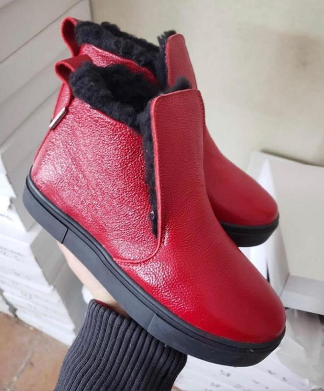 Натуральные кожаные хайтопы красные