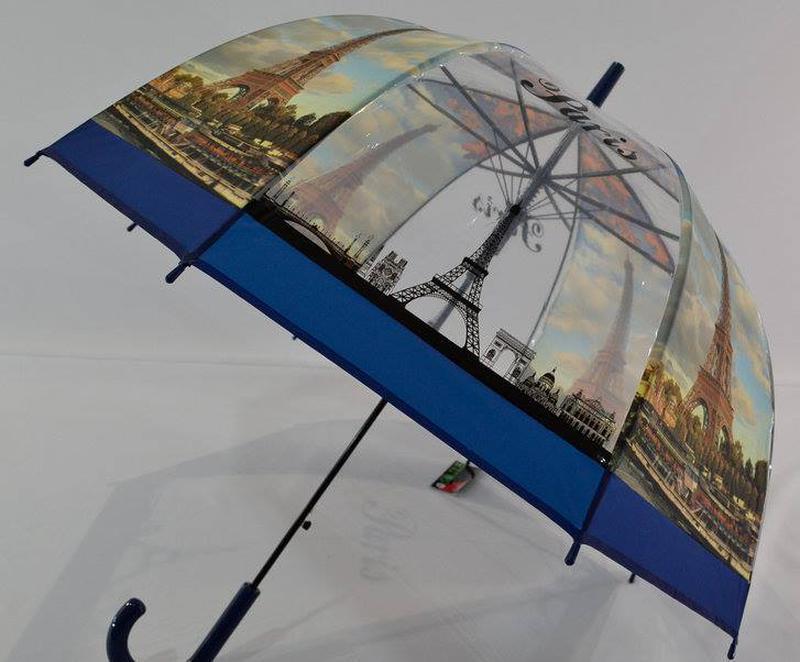 Молодежные прозрачные зонты-трости грибочком с Эйфелевой башней - Фото 4