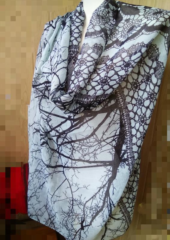 Шикарный палантин шарф платок цвет минт принт деревья кружева ...