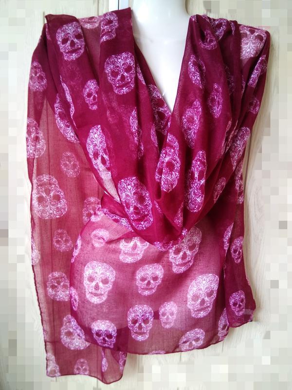 Стильный палантин черепа платок шарф цвета марсала