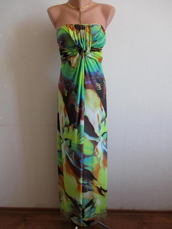 Длинное трикотажное макси платье бандо в пол принт цветы lucas...