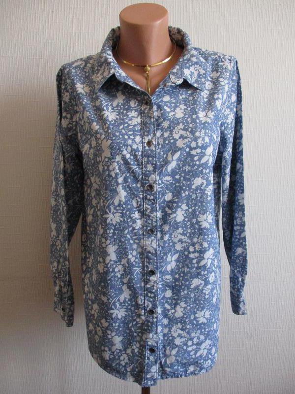 Натуральная джинсовая рубашка из хлопка в цветочный принт george