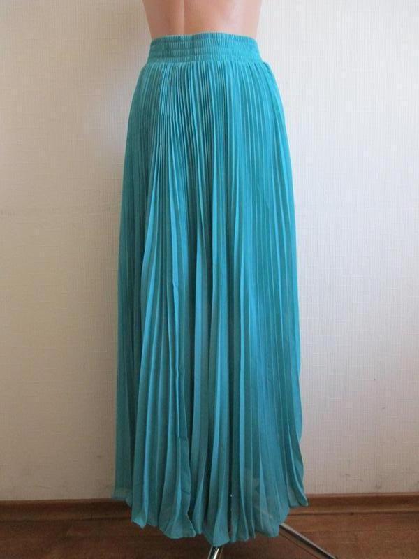 Длинная бирюзовая  макси юбка плиссе в пол