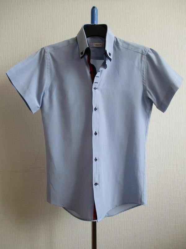Хлопковая приталення рубашка slim fit с коротким рукавом в кле...