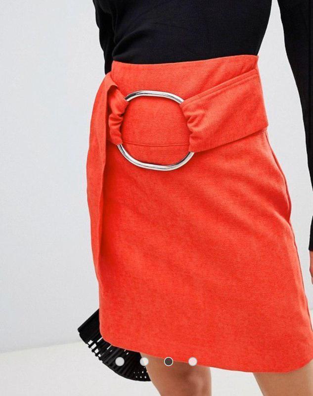 Качественная красивая красная юбка трапеция с кольцом высокая ...