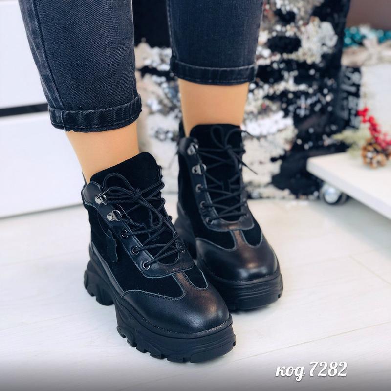 Зимние черные кроссовки из натуральной замши и кожи