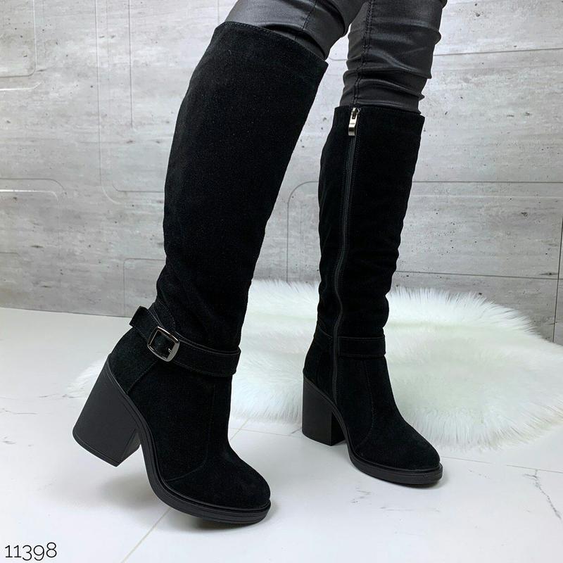 Зимние сапоги из натуральной замши на каблуке