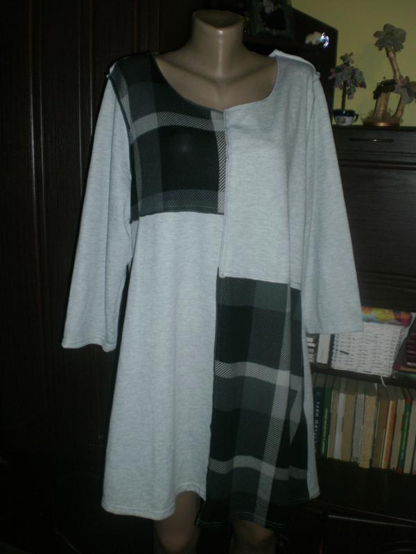 Шикарне актуальне трикотажне плаття-туніка з асиметричним низо...