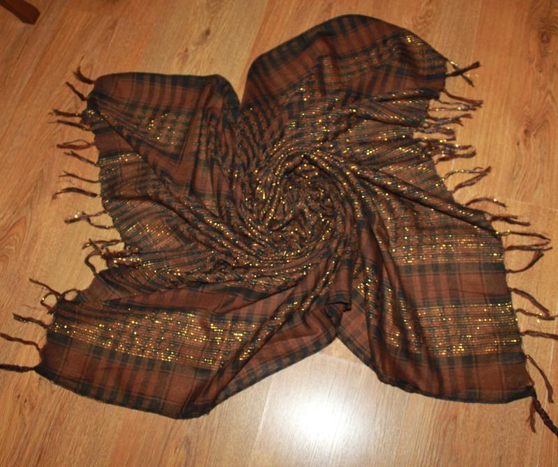 Легкий платок арафатка коричневый pashmina и fibra 108*100 см.