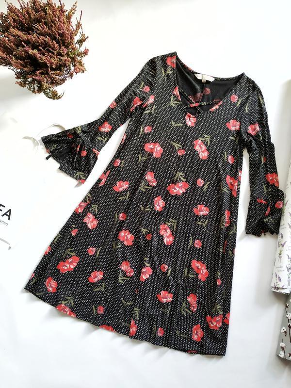 Черное платье в мелкий горошек красные маки воланы f&f