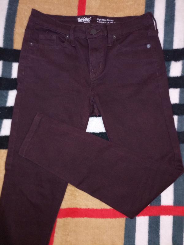 Узкие джинсы, цвет марсала/винный, стрейчевые, скинни
