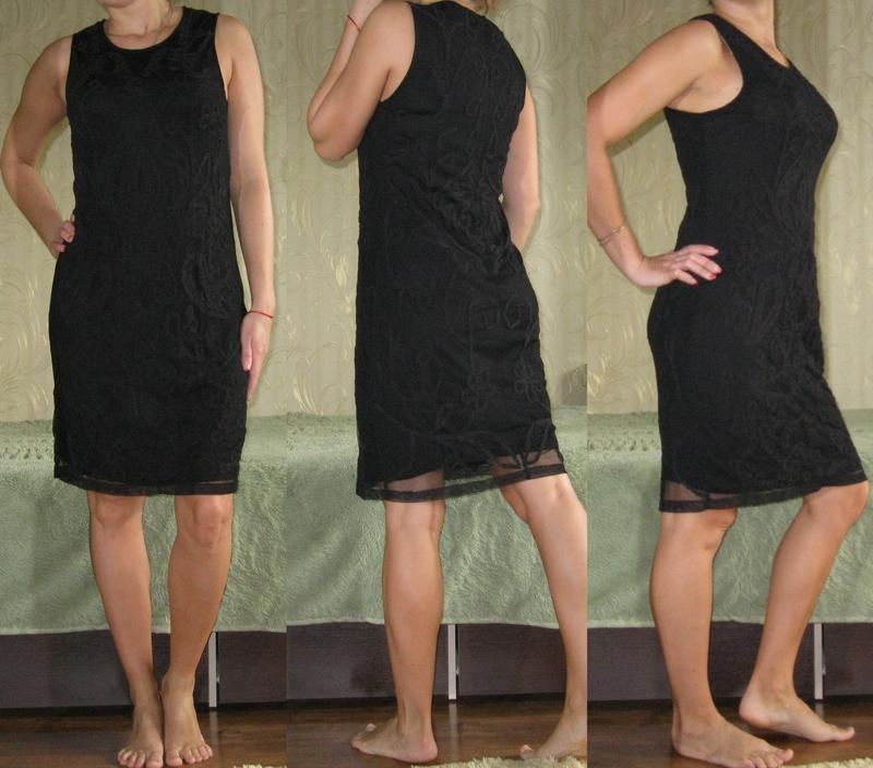 Кружевное платье-футляр zara - оригинал! размер 44-46-48 - Фото 2