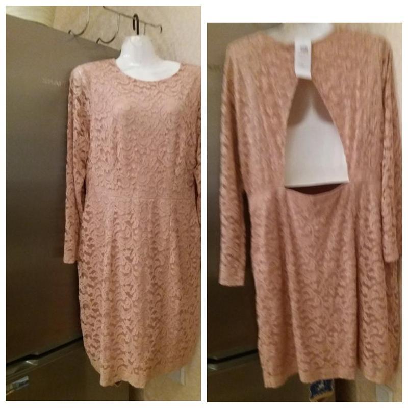 Нюдовое ажурное платье на 50\52р h&m   акция!!!! при покупке +...