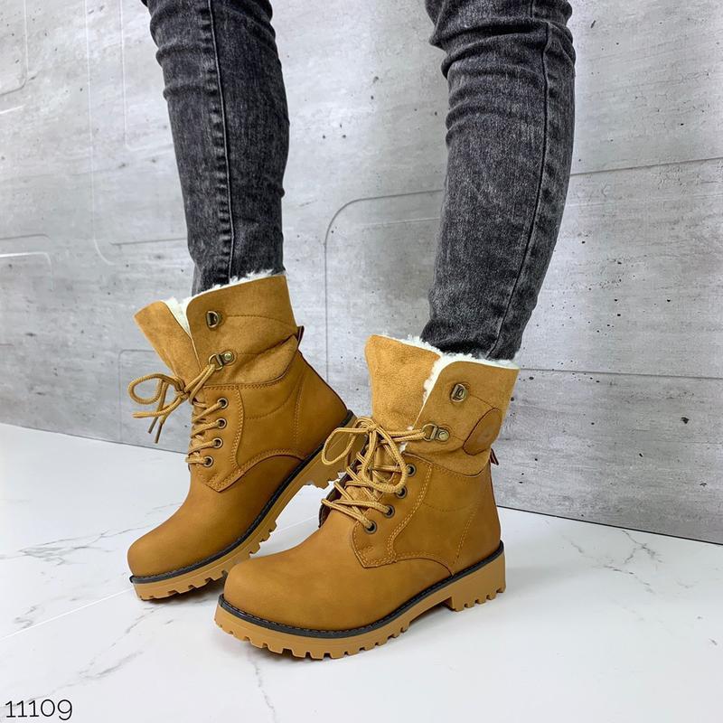 Зимние рыжие ботинки тимберленды, зимние высокие ботинки на меху