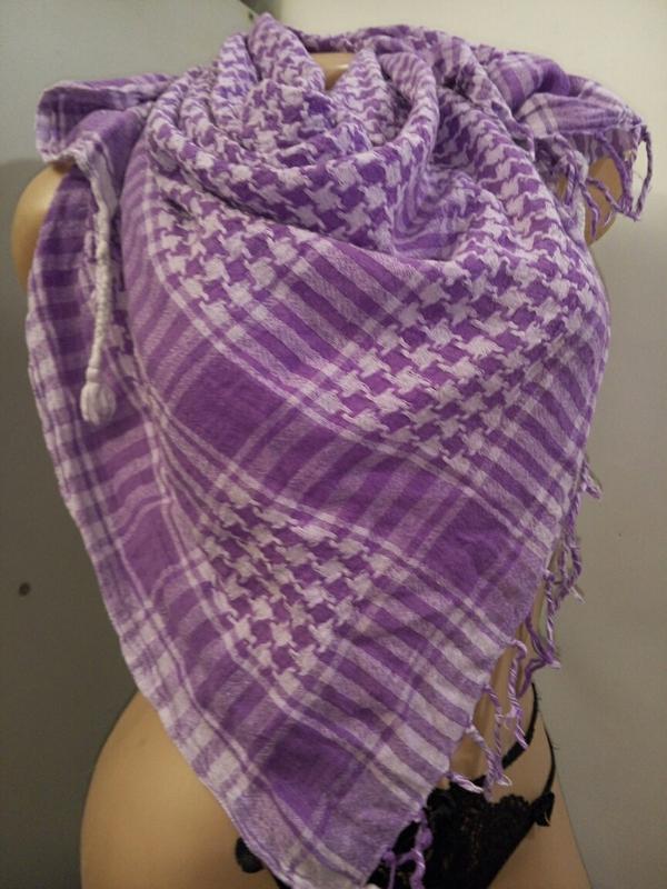 Платок шарф сирень клетка