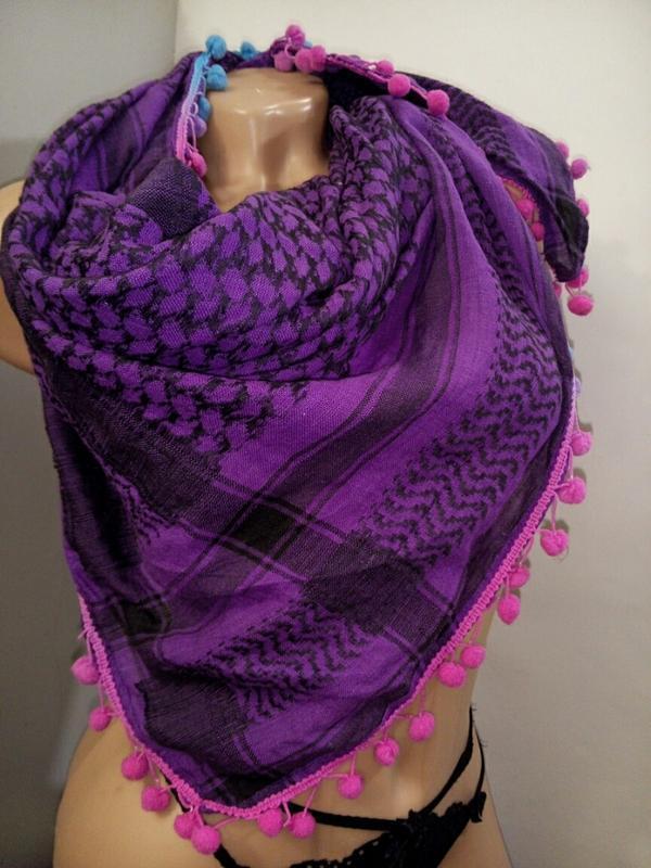 Платок шарф фиолетовый клетка