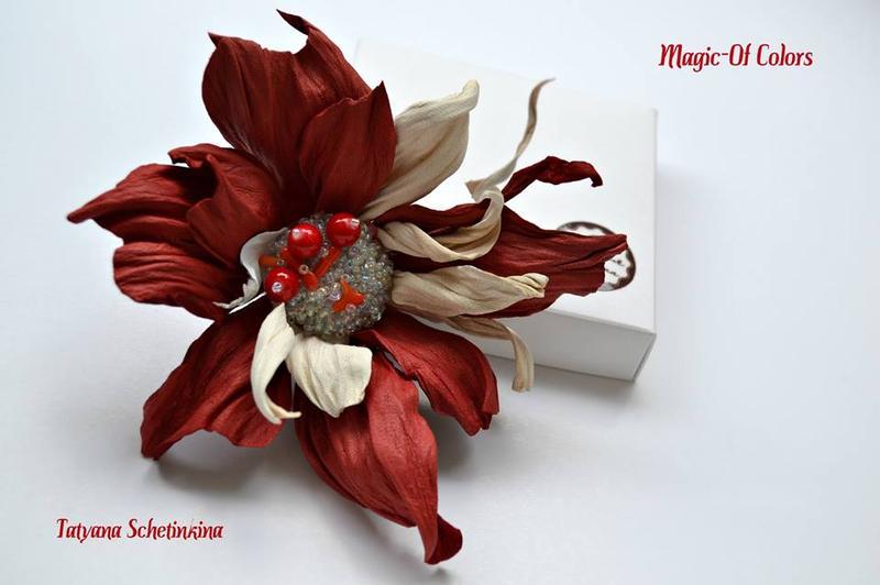 Брошь цветок из натуральной кожи. - Фото 2