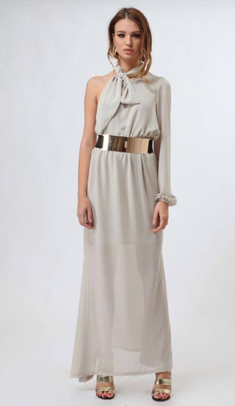 Итальянское нарядное платье в пол на одно плечо mivite