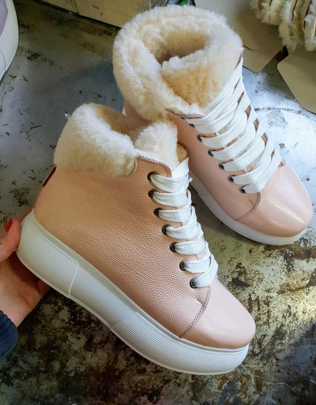 Натуральные кожаные ботинки пудра