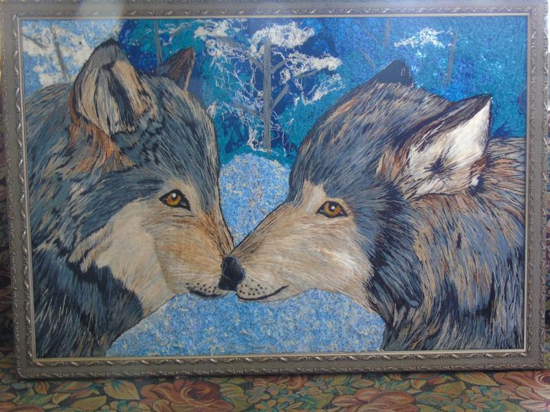 """Вышитая картина Гладью """"Волки"""""""