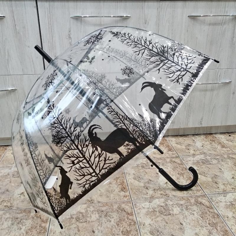 Прозрачный купольный зонт трость star rain 323 зимний лес