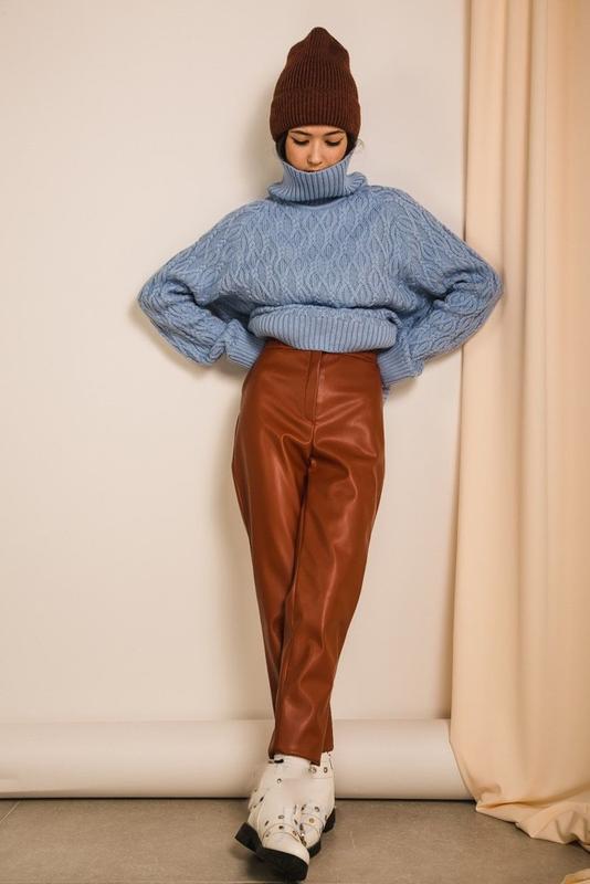 Теплые женские штаны из кожзама, высокая посадка