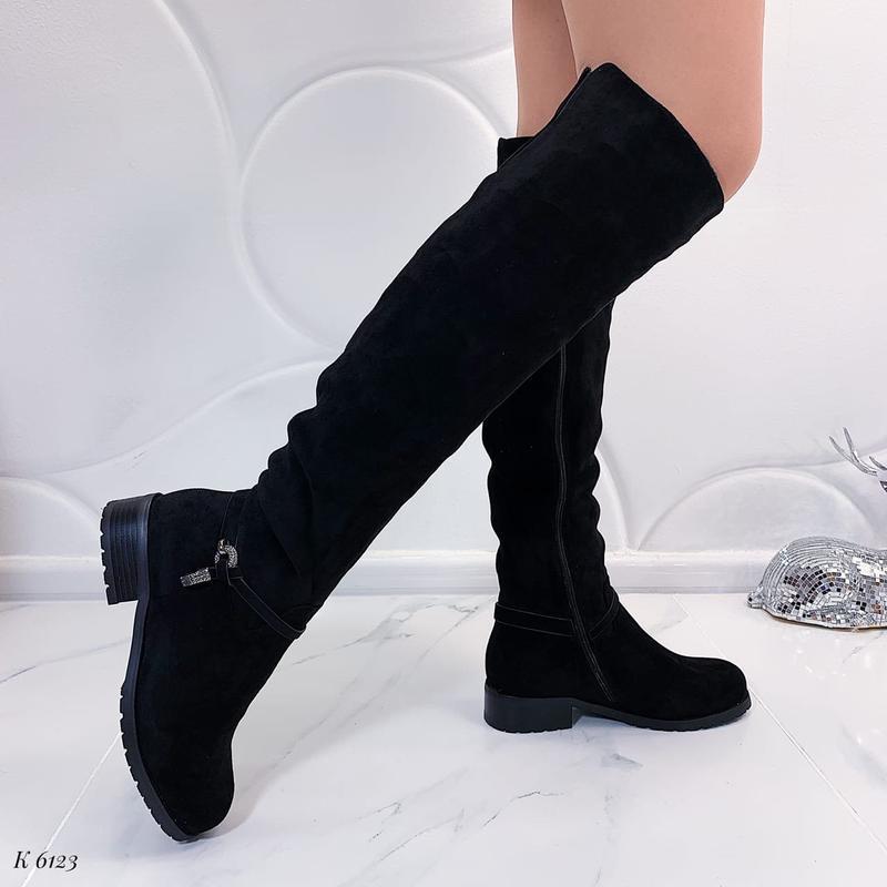 Зимние сапоги ботфорты на низком каблуке, замшевые ботфорты на...