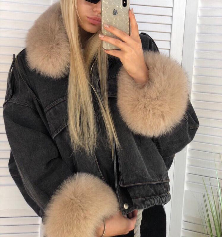 Джинсовая куртка + финский песец + мех кролика